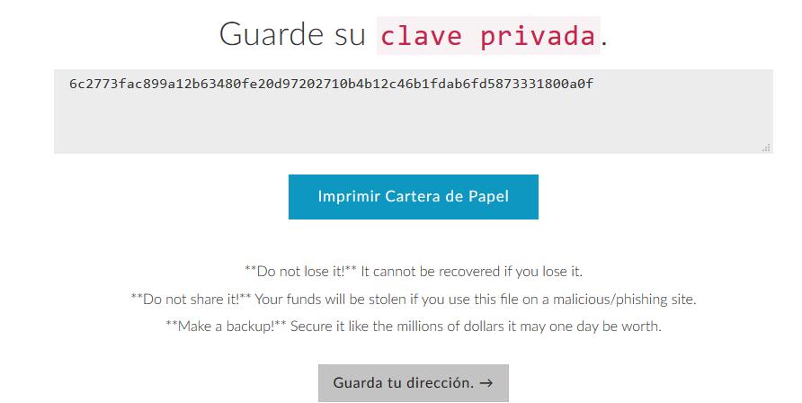 Clave privada MEW ejemplo tutorial 2018 español
