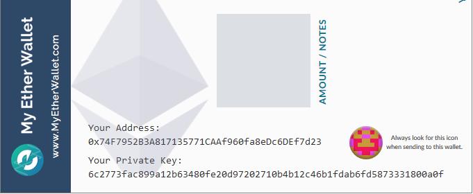 detalles mew datos cartera papel para guardar ethereum y otras criptomonedas