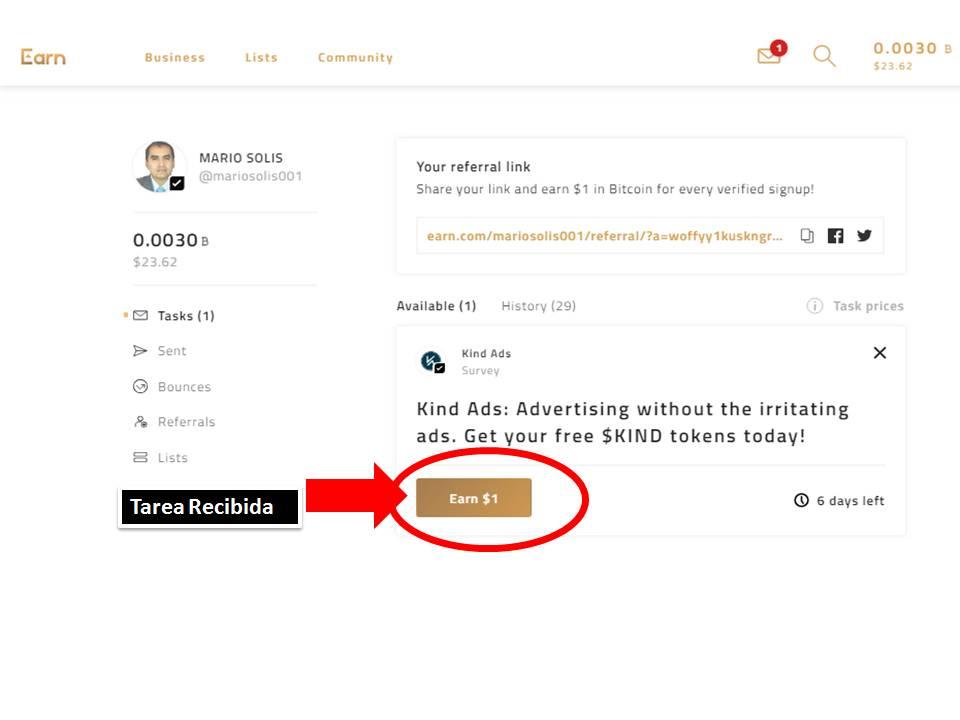 Earn.com la manera más sencilla de ganar criptomonedas por realizar acciones