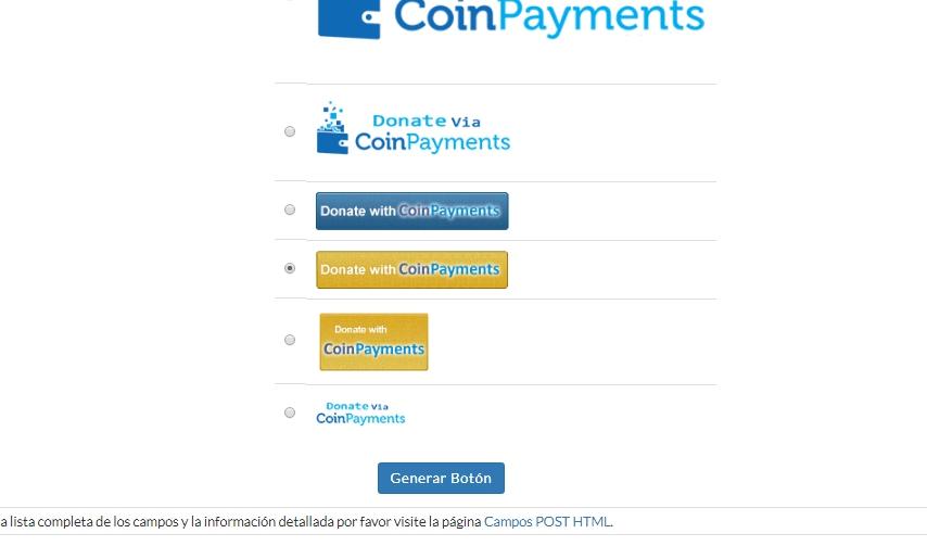 boton coinpayments, Como crear tu botón de donaciones usando coinpayments