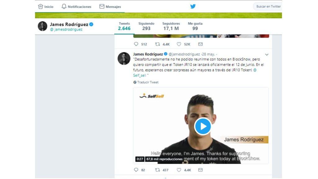 james rodriguez dice en twitter que lanzará su propia criptomoneda