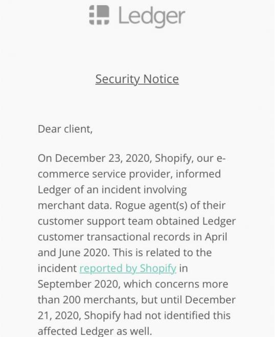 , Los problemas del libro mayor de Bitcoin Wallet Maker empeoran con el robo de datos de Shopify
